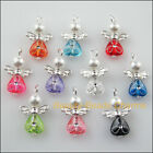 10Pcs Silver Plated Wings Mixed Heart Dancing Angel Charms Pendants 14x22mm