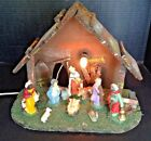 Vtg Xmas 14 Nativity Wooden Manger 10 Pc Figures Creche w Light Stable Italy