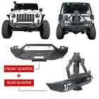Front  Bumper w Tire Carrier  Winch Plate For Jeep Wrangler 07 18 JK