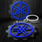 3D Soft ABS Rubber Motorcycle Keychain Key Chain Fob Ring Logo Yamaha Black/Blue