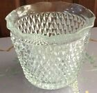 VINTAGE INDIANA GLASS CLEAR DIAMOND POINT RUFFLED ORNAMENTAL ICE BUCKET
