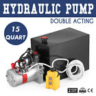 15 Quart Double Acting Hydraulic Pump Dump Trailer 12V Power Unit Control Kit