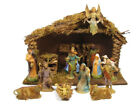 Holiday Home Indoor Nativity Set Real Wood Stable 14 Piece Figurines
