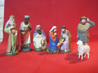 Vintage mache nativity creche set figures wax Baby Jesus German putz sheep