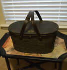 ANTIQUE HAWKEYE PICNIC BASKET WICKER TIN USED ON MODEL T / MODEL A