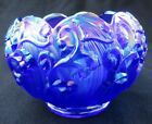 Fenton Art Glass Cobalt Blue Iridescent Carnival Lily Of The Valley Rose Bowl