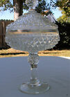 vintage Diamond Point Indiana Glass Candy Dish Compote clear 12.5