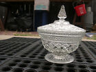 Anchor Hocking Wexford footed covered candy dish in clear glass