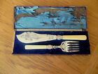 Antique/Vintage Silver Plated Fish Servers With Faux Bone Handles