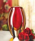 SUNFIRE GLASS VASE Contemporary Red Gold Curved