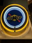 Sunoco Gasoline Double Neon Wall Clock Great For Garage Man Cave