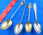 ANTIQUE DEMITASSE SPOON LOT OF 4 MISC, 1907 ENAMEL, WALLACE, ++ FREE US SHIPPING