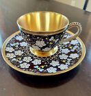 RUSSIAN SILVER GILT STERLING SHADED ENAMEL TEA CUP WITH SAUCER
