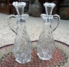 Anchor Hocking Early Amer Prescut Glass Vinegar/Oil Set w/Stoppers Star of David
