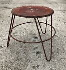 Vintage Milking Red Hairpin Legs Stool Industrial Metal Primitive Farm Cow Dairy