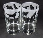 New Etched GOLDEN RETRIEVER Hiball Glasses Beautiful Gift Free Gift Box