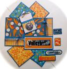 VOLLEYBALL ROCKS Premade Scrapbook Page Mat Set sewn SALE