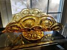Mid Century Curved Glass Candy Dish Amber