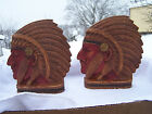 Vintage Carved Native American Indian Chief Head Bookends