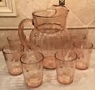 Anchor Hocking Depression Pink Glass Pillar Optic Ribbed Pitcher 1937-42 Ice Lip