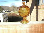 Stars Covered Compote Candy Dish Amber