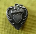 Vintage Sterling Silver Repousse I Love You Sweetheart Puffy Heart Charm