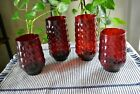 Anchor Hocking Vintage Royal Ruby Red Bubble Two Ice Tea and Two Juice Glasses