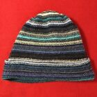 William Brunton Kids Beanie Hat Hand Knit Gray/Blue 100% Lambswool Scotland