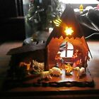 VTG RARE plastic Holy Family Xmas Nativity stable wIth light rare find stunning
