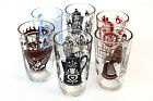 Vtg. KRAFT 1930s-1950s Swanky Swigs Juice Glasses Black Brown Red Blue 6 Mixed