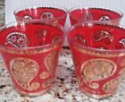 Set of 4 - Vintage 1970' Culver Ltd Red with 22K Gold Paisley Glass/Tumbler