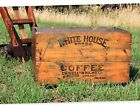 Large Antique White House Brand Coffee Wood Shipping Crate, Coffee Shop Decor