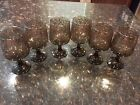 6 Libbey Glassware Prado Stemmed Scroll Embossed Brown Mid Century Tawney