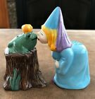 Princess Kissing Frog Salt Pepper Shakers Ceramic
