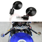 Black Motorcycle Rearview Bar End Round Mirrors For Cafe Racer Bobber Cruiser
