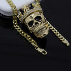 Mens Gold Plated King Head Skull Pendant 24 Cuban Chain Hip Hop Necklace D603