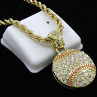 Mens Gold Plated Hip Hop Lucky Baseball Cz Pendant 30 Rope Chain Necklace F63