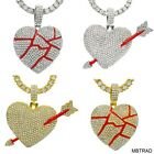 Gold Silver Iced Out Broken Heart with Arrow Pendant Tennis Chain Necklace