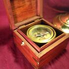 Compass Gimbled Mounted In Hand Made Wooden Box India Excellent Condition