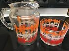Ice Bucket Orange Red White Flowers On Fence EUC