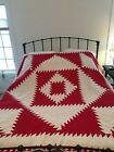 antique red and white quilt, hand sewn triangles, beautiful 78