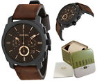 Fossil Watch Men Leather Brown Machine Chronograph Dial Casual Wristwatch FS4656