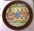 Vintage Marble Round Serving Plate with Miniature Water Proof Painting India-145