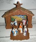 Vintage Cardboard Stable Nativity Set Hard Plastic Attached Figures Creche