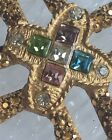 RARE Designer St John Maltese Cross Brooch Rhinestone Crystal 22k Gold Plated