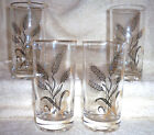 1960's Gold Wheat Design Glass Tumbler 12oz. Set of 4 Gold Rim
