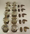 1 Pair of High Quality Antique Glass Door Knobs Rosettes and Key Hole Covers
