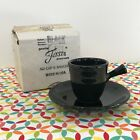 Fiestaware Black Stick Handle Demi Cup and Saucer Fiesta Demitasse Retired