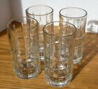 4 Anchor Hocking Tartan Plaid Clear 16 Oz. Flat Iced Tea Water Tumblers EXC.