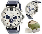 Fossil Watch Men Leather Navy Nate Chronograph Dial Casual Wristwatch JR1480